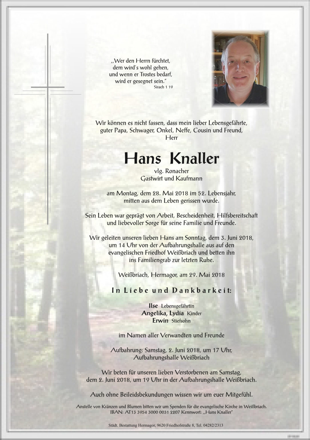 Hans Knaller, © Bestattung Hermagor