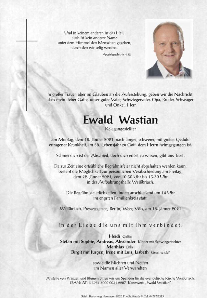 Ewald Wastian, 18. Jänner 2021
